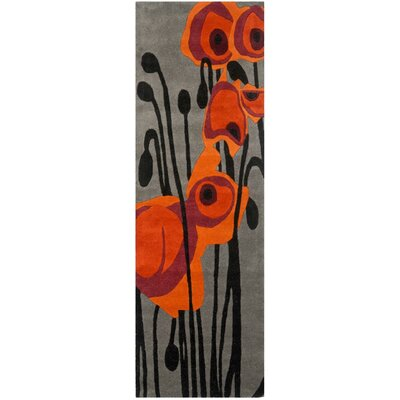 Woodburn Hand-Tufted Gray/Orange Area Rug Rug Size: Square 6