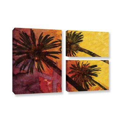 Beach with Palm Trees 3 Piece Painting Print on Wrapped Canvas Set