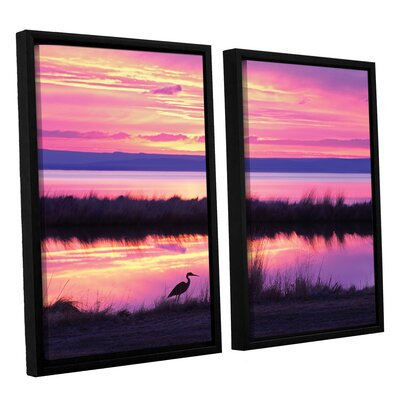 Sunset Crane 2 Piece Framed Photographic Print on Wrapped Canvas Set