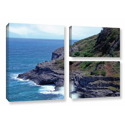 Sea Cave and Nesting Birds 3 Piece Photographic Print on Wrapped Canvas Set