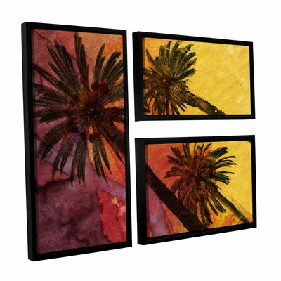 Beach With Palm Trees 3 Piece Framed Graphic Art on Wrapped Canvas Set