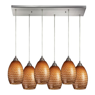 Flemington 6-Light Kitchen Island Pendant Shade Color: Coco