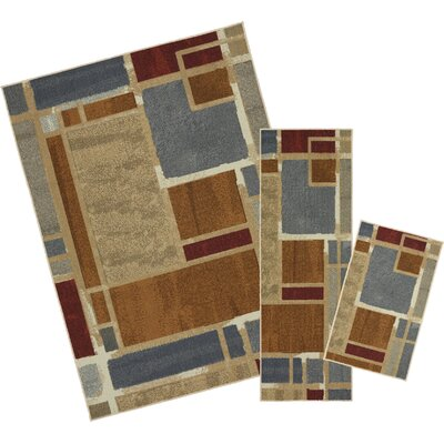 Pill 3 Piece Gray/Brown Area Rug Set