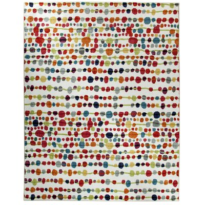 Rory White/Red Area Rug