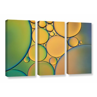 Orange Green 3 Piece Graphic Art on Wrapped Canvas Set
