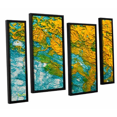 Summer Breeze 4 Piece Framed Graphic Art on Wrapped Canvas Set