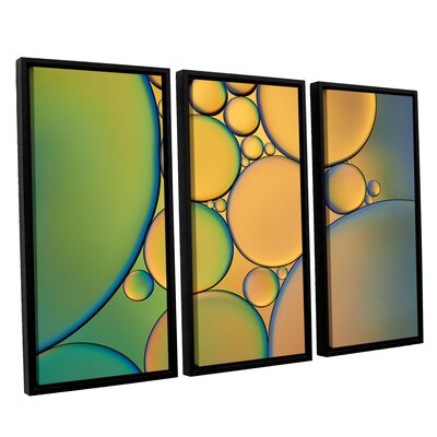 Orange Green 3 Piece Framed Graphic Art on Wrapped Canvas Set