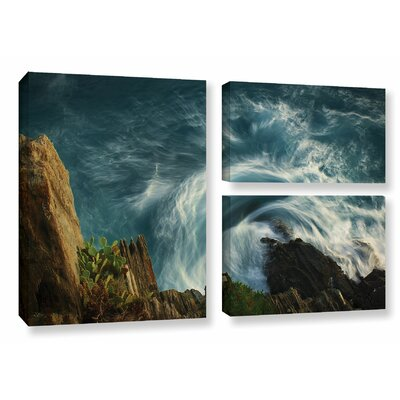 Bending Waves 3 Piece Graphic Art on Wrapped Canvas Set