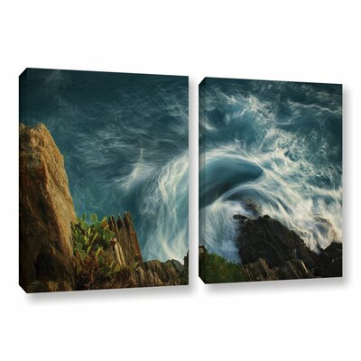 Bending Waves 2 Piece Graphic Art on Wrapped Canvas Set Size: 18