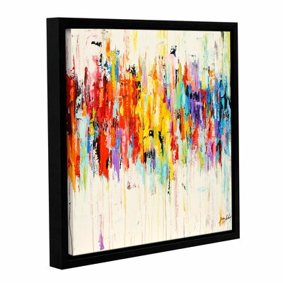 Abstract Rainbow Framed Painting Print on Wrapped Canvas