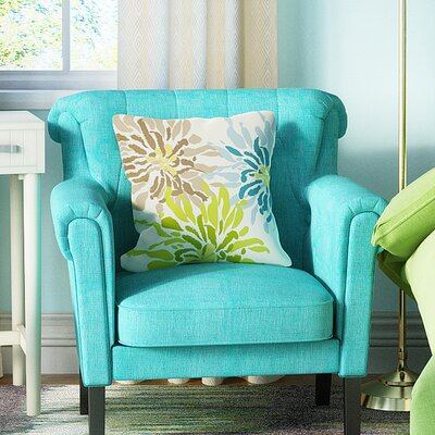 Vickey Floral Throw Pillow Size: 26 H x 26 W, Color: Blue Green Brown
