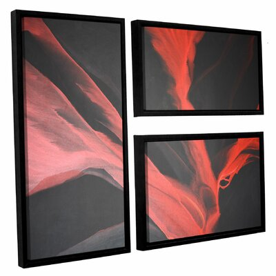 Breaking Red 3 Piece Framed Painting Print Set