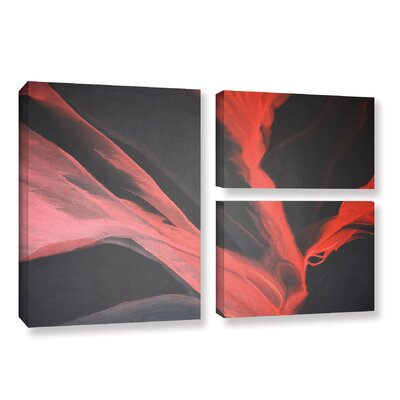 Breaking Red 3 Piece Painting Print on Wrapped Canvas Set