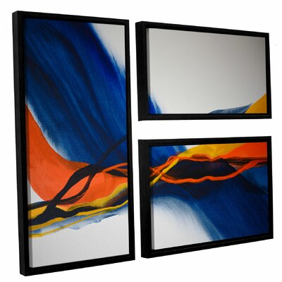 Blue Wave 3 Piece Framed Painting Print Set