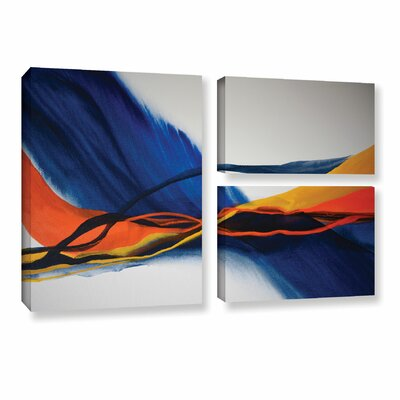 Blue Wave 3 Piece Painting Print on on Wrapped Canvas Set