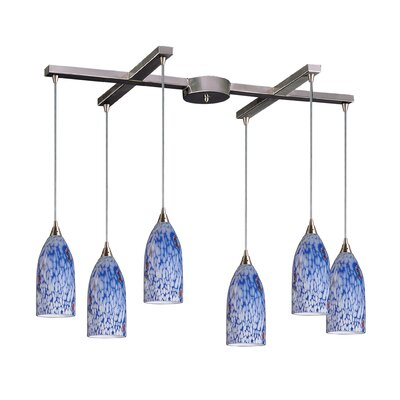 Leakey 6-Light Pendant Glass Type: Starlight Blue