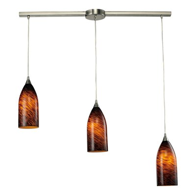 Leakey 3-Light Linear Pendant Glass Type: Simply White