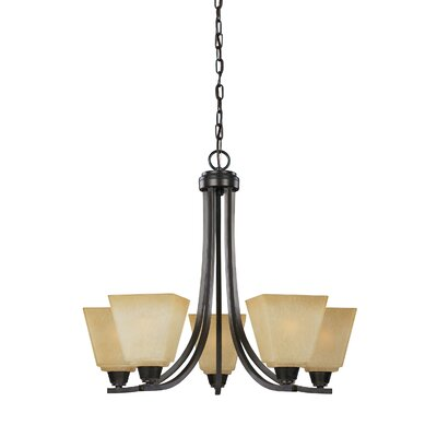 Atami 5-Light Shaded Chandelier Finish: Brushed Nickel, Bulb Type: Incandescent, Shade Color: White