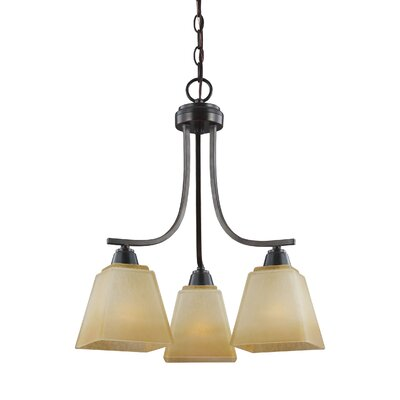 Atami 3-Light Shaded Chandelier Finish / Shade Color: Flemish Bronze / Creme Parchment