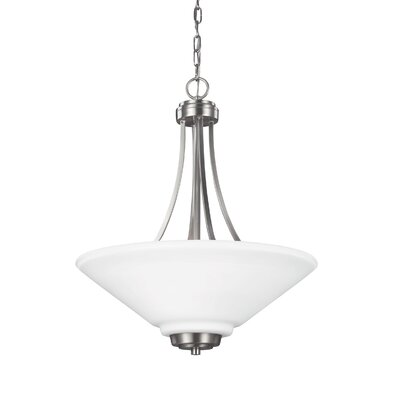 Atami 3-Light LED Bowl Pendant Finish / Shade Color: Brushed Nickel / White