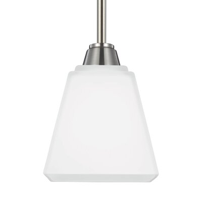 Atami 1-Light Mini Pendant Finish / Shade Color: Brushed Nickel / White