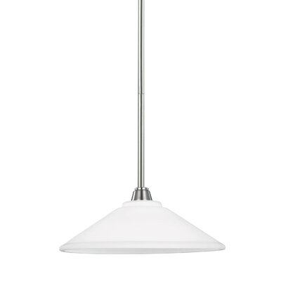 Atami 1-Light Mini Pendant Finish: Brushed Nickel, Shade Color: White, Bulb Type: Fluorescent