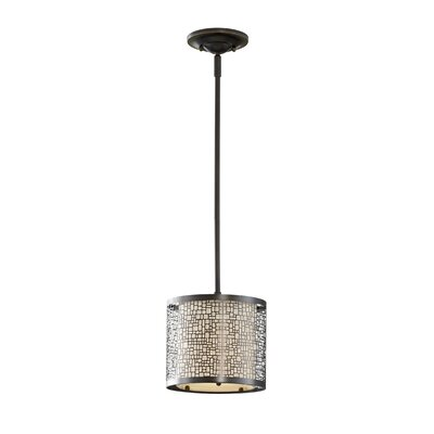 Evart 1-Light Mini Pendant Finish: Light Antique Bronze with Beige Shade