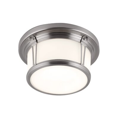 Parkdale 2-Light Flush Mount Size: 5.38 H x 13.25 W x 13.25 D, Finish: Brushed Steel