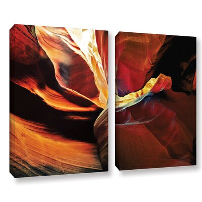 Slot Canyon Light From Above 2  2 Piece Photographic Print on Wrapped Canvas Set