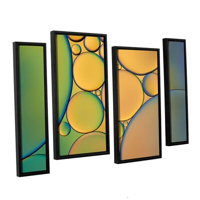 Orange Green 4 Piece Framed Graphic Art on Canvas Set