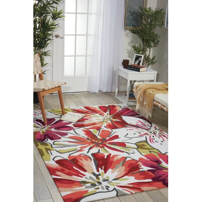 Mindy Hand-Hooked Ivory/Red Area Rug Rug Size: Runner 23 x 8