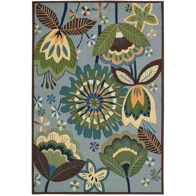 Mindy Hand-Hooked Green/Blue Area Rug Rug Size: Rectangle 36 x 56