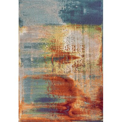 Dunmore Luminous Red/Blue Area Rug Rug Size: 53 x 77