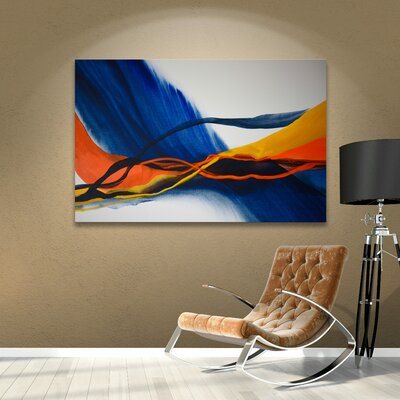 Blue Wave Painting Print on Wrapped Canvas