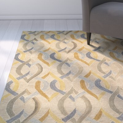Cecelia Hand-Crafted Gold Area Rug Rug Size: 79 x 99