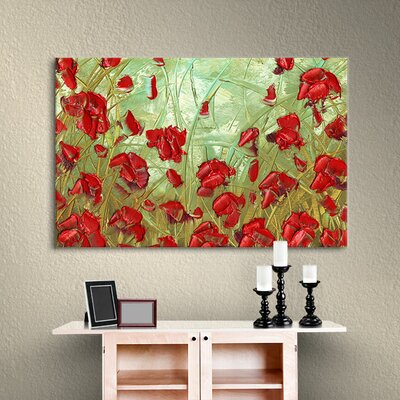 Red Flowers Painting Print on Wrapped Canvas Size: 12