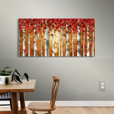 Red Birch Painting Print on Wrapped Canvas Size: 12