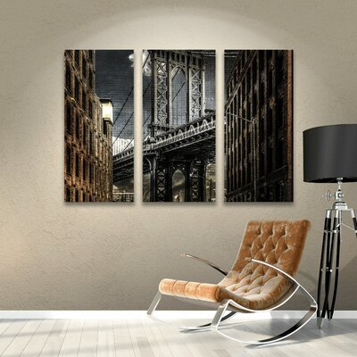 Empire Shadow Manhattan Bridge 3 Piece Photographic Print on Wrapped Canvas Set