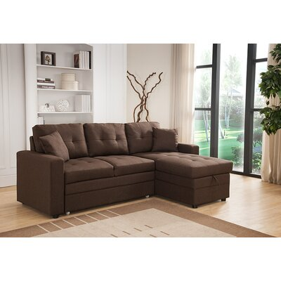 Weymand Reversible Chaise Sectional Upholstery: Brown