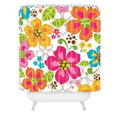 Rene Blooms Extra Long Shower Curtain