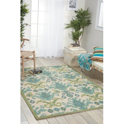 Higgins Ivory/Green/Blue Area Rug Rug Size: 4 x 6