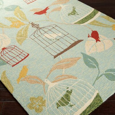 Goose Point Hand-Hooked Blue Indoor/Outdoor Area Rug Rug Size: 2 x 3
