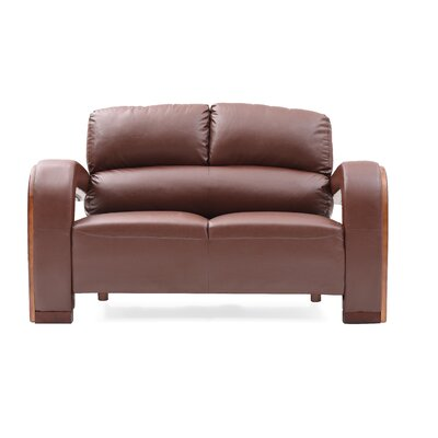 Troy Modern Loveseat Upholstery: Brown