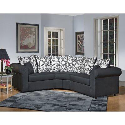 Lila Sectional Body Fabric: Sum Plain Black/Vision Lines Black