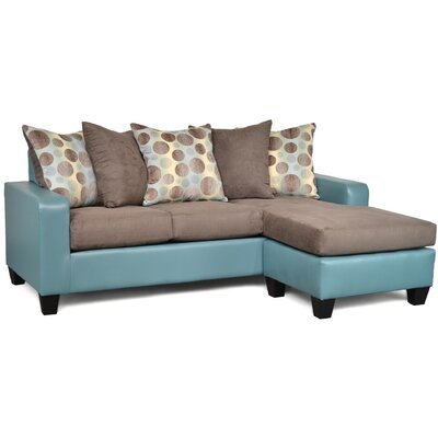 Laurie Reversible Sectional Upholstery: Pewter/Aqua