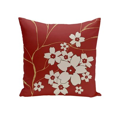 Calhoun Floral Outdoor Pillow Color: Red, Size: 20 H x 20 W x 1 D