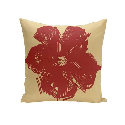 Prompton Floral Outdoor Pillow Size: 20 H x 20 W x 1 D, Color: Red