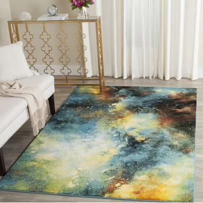 Blue/Yellow Area Rug Rug Size: Square 53