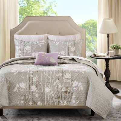 Olney Coverlet Set Size: Queen, Color: Taupe