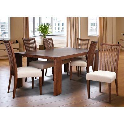 Bohostice 7 Piece Dining Set Upholstery: Khaki